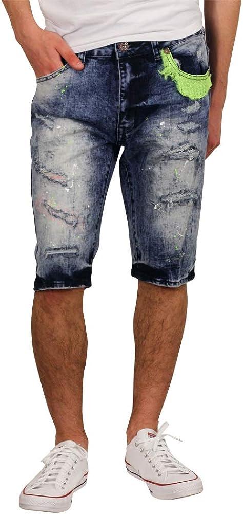 BLEECKER & MERCER Splatter Denim Shorts w/Neon Trim 32