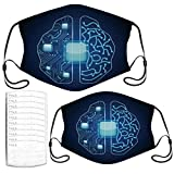 Face Mask Brain with Circuit Board Texture.Vector Adult Kids Masks Set