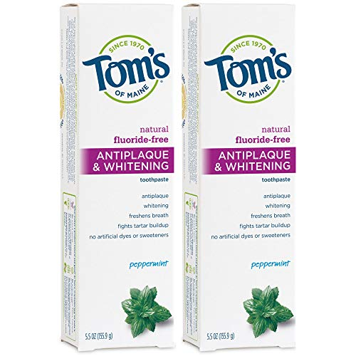 Luxury Beauty & Personal Care! - Tom's of Maine Fluoride-Free Antiplaque & Whitening Natural Toothpaste, Peppermint, 5.5 oz. 2-Pack
