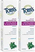 Tom's of Maine Fluoride-Free Antiplaque & Whitening Natural Toothpaste, Peppermint, 5.5 oz. 2-Pack
