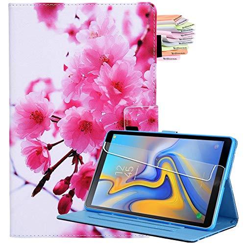 Billionn - Funda para Samsung Galaxy Tab A7 10.4 2020 (piel sintética, función atril, plegable), diseño de flores de cerezo