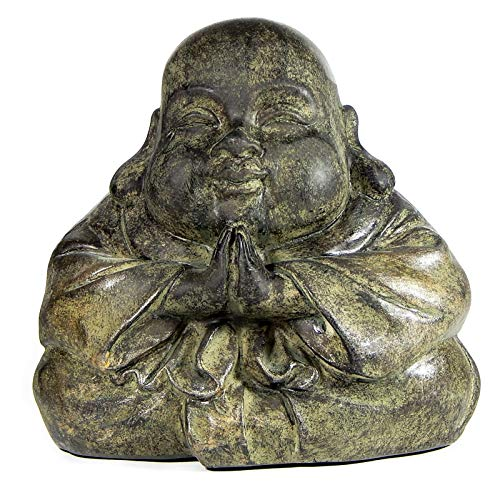 Bellaa 22777 Buddha Statue Japanese Jizo Healing Monk Happy Praying Figurine Stone Finished