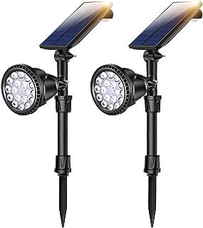 2 PCS Motion Sensor Solar Spot Lights Outdoor,18 LED Landscape Lamps Waterproof Flood Lamp for Deck Yard Garden Garage Driveway Easy Install (Yellow Light)