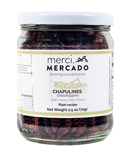 NON PERISHABLE HIGH PROTEIN CONTENT - Chapulines (grasshoppers) - Gourmet edible insects from Oaxaca Mexico (Plain recipe) Merci Mercado 2.4oz (70g)