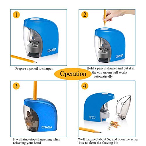 Pencil Sharpener,Electric Pencil Sharpener for NO.2 Pencils and Colored Pencils,Portable Automatic Electric Sharpener Feature for Home/School/Classroom/Office,USB or 2AA Batteries BLUE Photo #5