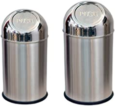 "Tulsi Stainless Steel Push Can Dustbin/Garbage Bin/Small And Medium/ - 10 Litre (8""X16"") + 4 Litre (5'' X 8'')- Set Of 2 Pcs"