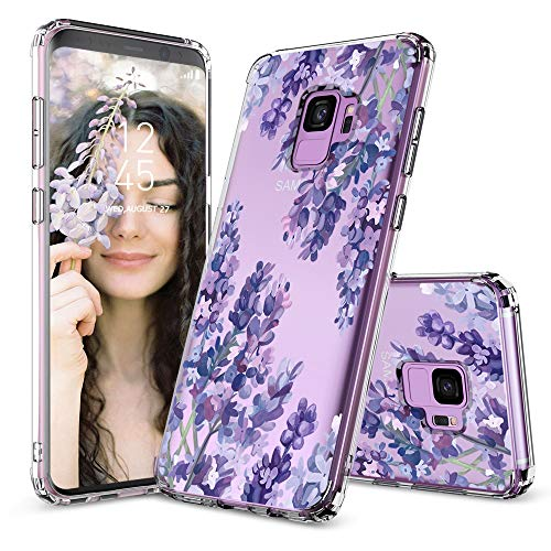 Case for Galaxy S9,MOSNOVO Shockproof TPU Bumper Slim Clear Case with Floral Design for Samsung Galaxy S9 Phone Case Cover - Lavender