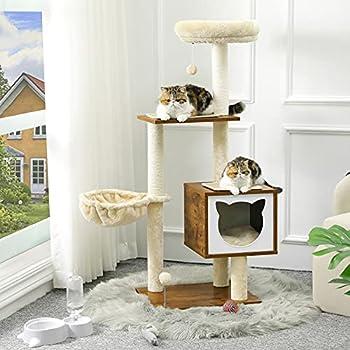 MSmask Arbre à chat en bois avec grotte unique et espace de couchage, meubles pour chat moderne avec poteaux en sisal, tapis amovibles et lavables, arbre à chat stable (marron rétro)