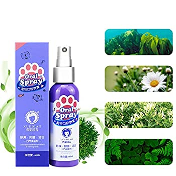 lzndeal Spray pour Animaux de Compagnie, Soins bucco-dentaires pour Chiens, Mauvaise haleine Nettoyage des Dents Nettoyage de la Plaque de rafraîchisseur d'haleine