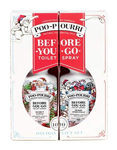 Poo-Pourri Before-You-go Toilet Spray, 2 Fl Oz Secret Santa & 2 Fl Oz Merry Spritzmas Scent (2 Count)