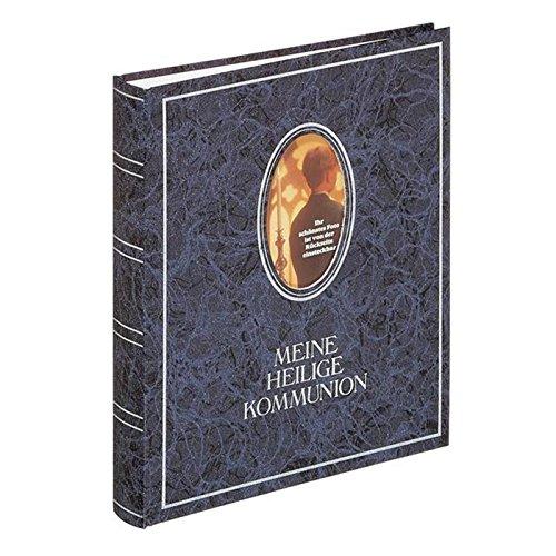 Pagna 12417-07 Kommunionsalbum 210 x 250 mm, Wechselbild, hochwertiger Kunststoffeinband mit Goldprägung und Rahmen, 40 und 4 Seiten für persönliche Eintragungen, deutscher Vorspann, blau