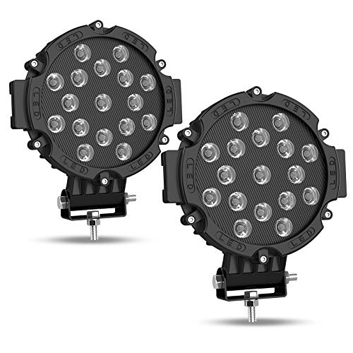 AUTOSAVER88 2PACK 7' LED Offroad Pod Lights Bar 51W with Mounting Bracket, Black Round Spot Bumper Driving Lamp Headlight Fog Light for Offroader, Truck, Car, ATV, SUV, Construction, Camping, Hunters