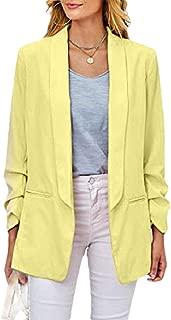 Howely Women's Work Office Solid Open Notch Lapel Lounge Welt Jacket