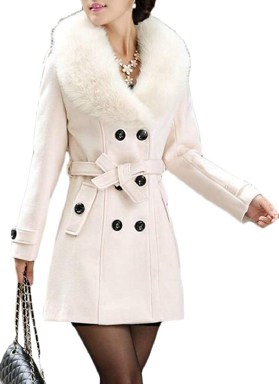 QDCACA Women's Stylish Lapel Faux Fur Collar Wool Blend Long Sleeve Coat