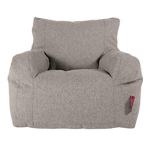 Lounge Pug, Sitzsack Ohrensessel mit Hocker, Interalli Wolle Silber