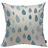 HOSNYE Raindrops Throw Pillow Cushion Covers Cute Watercolor Rain Drop Blue Drop Baby Summer Weather Decorative Square Accent Pillow Case 18 x18 inch