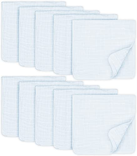 Muslin Burp Cloths 10 Pack Large 100% Cotton Hand Washcloths 6 Layers Extra Absorbent and Soft (White, Pack of 10)