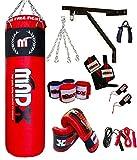 MADX - Set de boxeo (13 piezas, saco de 1,20 m con relleno, guantes, cadena, soporte)