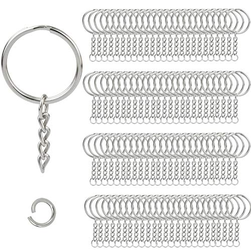 Enthur, anelli portachiavi con catenella al termine della quale vi è un anellino aperto, in argento, della dimensione di 25,4 mm, adatti per creazioni fai da te, 100 pezzi