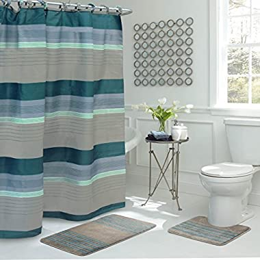 Bath Fusion Regent Stripe 15-Piece Bathroom Shower Set
