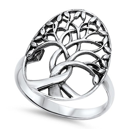 Tree of Life Ring Solid 925 Sterling Silver Family Tree of Life Band 3-14 Simple Plain, Size-9