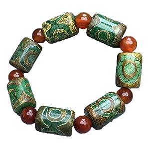 ZHIBO Tibetisches Armband mit drei Augen, Dzi Perlen, grüner Achat