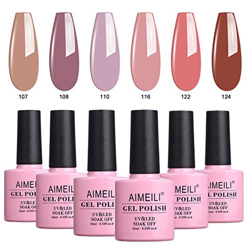 AIMEILI UV LED Gellack mehrfarbig ablösbarer Gel Nagellack Set Gel Nail Polish Kit - 6 x 10ml - Set...