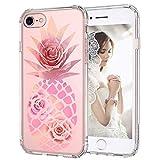 MOSNOVO Coque iPhone Se 2020/iPhone 8/iPhone 7, Tropical Ananas Rose Clair Design Motif Transparente...