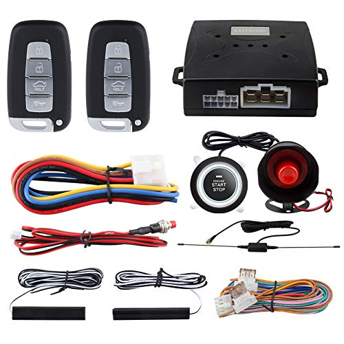 EASYGUARD EC003N-K Car Alarm System keyless Entry pke Remote Engine Start Stop Push Start Stop Automatically Lock or Unlock car Door Universal Version fits for Most dc12v Cars