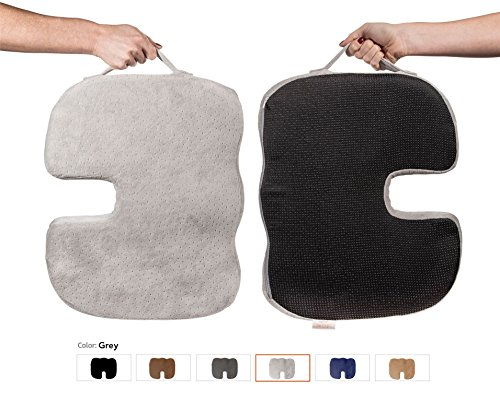 Dr. Ergo   Chiropractor Grade   Firm Orthopedic Memory Foam Seat Cushion   Coccyx, Tailbone and Sciatica Pain Relief   Non Slip Back Support Pillow for Wheelchair, Scooter, Car and Office Chair - Gray