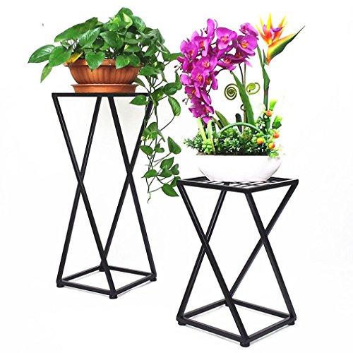& Pot rack Support de fleur de fer, support de pot de fleur de salon Support de présentoir de cadre de Bonsai de balcon Pots à fleurs décoratifs (Couleur : Noir, taille : 30 * 30 * 50CM)