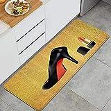 VINISATH Tappeti Cucina Antiscivolo Tappeti per Cucina Lavabile Tappetino Bagno Zerbino Tappeto Cucina Passatoia,Rossetto tacco alto scarpe Fondo oro