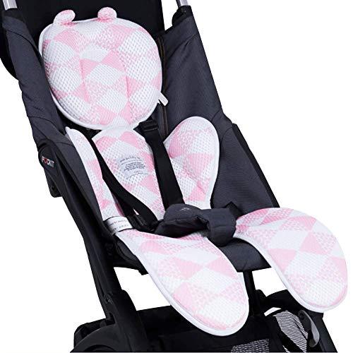 HM&DX Baby Kinderwagen Kissen Pad,Kopf- Und Körperstütze Stuhlkissen Kissen,3D Air Mesh Atmungsaktiv Sitzkissen Für Autositz Speisestuhl Rosa 38x78cm(15x31in)