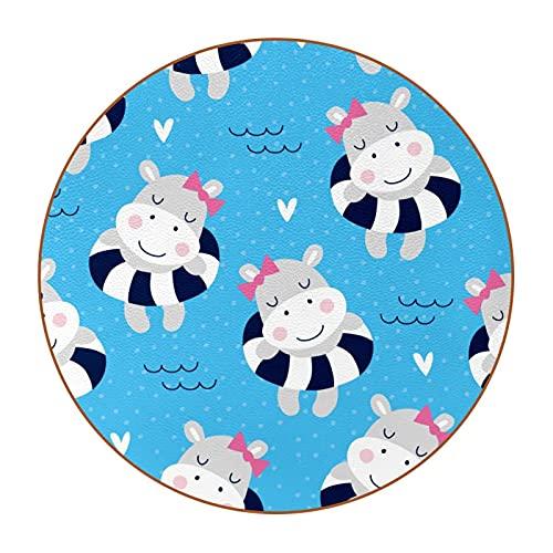 Sottobicchieri quadrati per bevande Ippopotamo Ragazze che nuotano Tazze in pelle con stampa acqua blu Tappetino per mobili in legno e vetro Tavolo da caffè Proteggi,set di 6