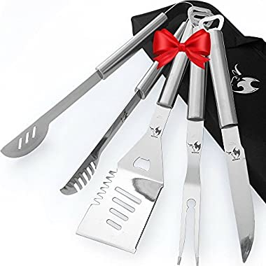 Kona BBQ Grill Tools Set With Case - 18  Long To Keep Hands Away From Heat, Premium Stainless Steel Grilling Utensils With Bottle Opener Handles - Makes A Great Gift