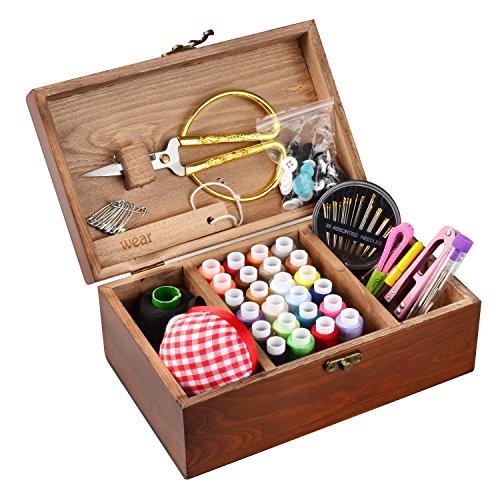 Isoto, Cesto da cucito in legno con kit di accessori, scatola organizer vintage per mamma, nonna, ragazza, hobbista, regalo per la casa