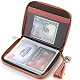 Buvelife Women Credit Card Holder Case RFID Blocking Wallet Leather Purse with 40 Card Slots (40-Pink)