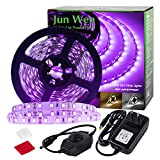 JUNWEN Black Lights 16.4FT 450LEDs Blacklights LED Strip, Dimmable Tape Lights, 12V Flexible Purple Blacklight Fixtures, LED Ribbon for Stage, Fluorescent Glow Party, Bar, Indoor Dance,Gallery