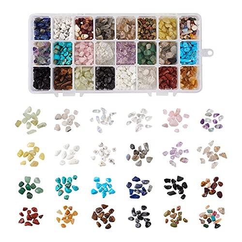 PandaHall 360 g de piedras preciosas naturales y sintéticas, cuentas irregulares de piedra de 5-8 mm de cristal triturado piezas para hacer joyas, collar, pulsera y anillo