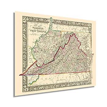 HISTORIX Vintage 1863 Virginia and West Virginia Map - 24x30 Inch Vintage Map of Virginia Poster and West Virginia Wall Map - Old County Map of Virginia and West Virginia  2 Sizes