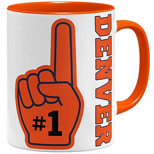 OM3 Number One #1 Denver - Tasse | Keramik Becher | 11oz 325ml | Beidseitig Bedruckt | Orange