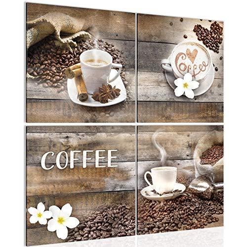Bilder Kaffee Küche 4 Teilig Bild auf Vlies Leinwand Deko Wohnzimmer Küchenmotiv Beige Braun 027144b