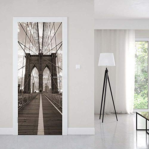 3D Door Sticker Brooklyn Bridge In New York For Living Room Bedroom PVC Self Adhesive Wallpaper Vinyl Waterproof Wall Stickers