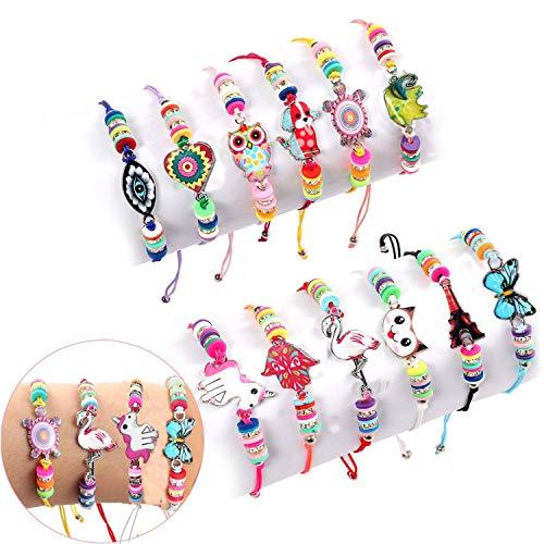 Lrikas 12 Pezzi Braccialetti Amicizia Bambini Bracciale Bambina Braccialetto Unicorno Braccialetti Regolabile Intrecciati per Festa di Compleanno Regalo Gioielli Ragazza