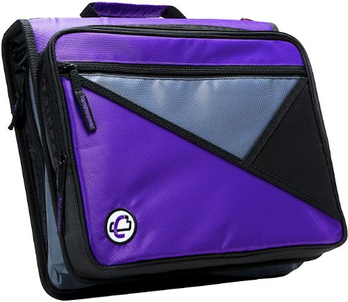 Case-it The Universal 2-inch 3-Ring Zipper Binder - Holds 13 inch Laptop - Includes Removable Sleeve - 400 Page Capacity - [Purple]
