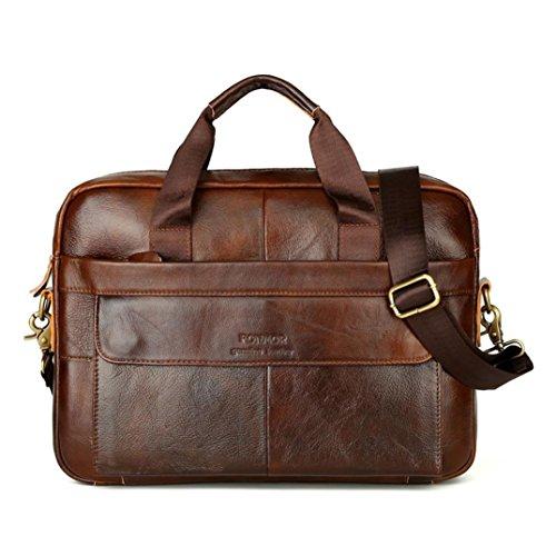 BYSTE Borsa a Tracolla, Uomo Moda affari ventiquattrore Borse a spalla Grande capacità vera pelle Borsello Sacchetto del Messaggero Sacchetto di Messenger bag Crossbody Bag (Marrone)