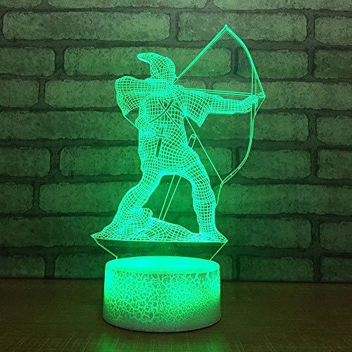 HNXDP 7 Cambio de color LED Lámpara 3d Usb AcrílicoPelícula Personaje Niños Botón táctil 3D Lámpara de mesa Tiro con arco Modelo Grieta Luz nocturna