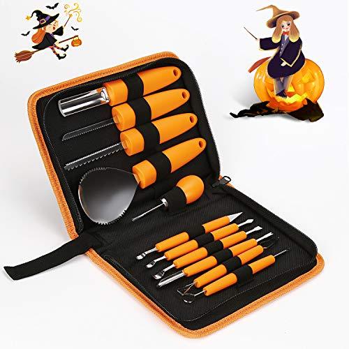 Zorara Halloween Kit de Talla de Calabaza, 11 piezas Cuchillos de Talla Manual Sculpt Pumpkin Profesional Acero Inoxidable Robusto Carving Knife Tools Halloween Fáciles de Tallar para Adultos y Niños