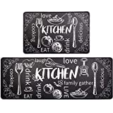 HEBE Anti Fatigue Kitchen Mat Set of 2 Non Slip Thick Cushioned Kitchen Rug Sets with Runner 17'x48'+17'x28' Heavy Duty Comfort Standing Mats Waterproof Kitchen Carpet