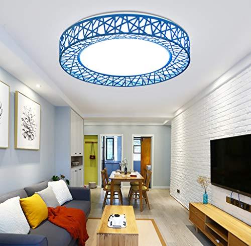 Moderna LED Luz de Techo,Plafón Lámpara Techo Redonda,Blanco Frío,26 * H5CM,LED Lámpara de Techo,para Baño Dormitorio Cocina Sala de estar Comedor Balcón Pasillo(Azul/26CM/24W)